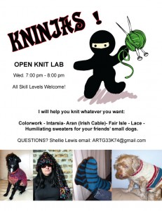 Kninjas: Open Knitting Lab wednesdays @ 7